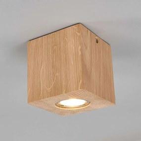 Compacte, vierkante eiken LED plafondlamp Harper