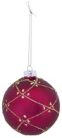 Kerstbal bordeaux ruit patroon