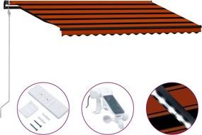 Luifel uittrekbaar met windsensor LED 450x300 cm oranje bruin