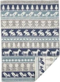 Klippan - Wiegdeken Wol Nature - Blauw/Grijs