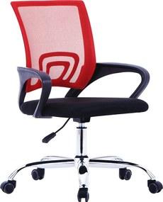 Kantoorstoel met mesh rugleuning stof rood