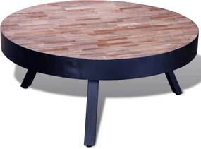 Salontafel rond gerecycled teakhout