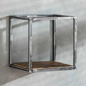 Vintagelook Wandschap Kubusvorm - 30x25x30cm.
