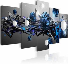 Schilderij - Melkweg in blauw , grijs wit , 5 luik