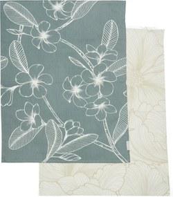 Rivièra Maison - Les Fleurs Tea Towel 2 pieces - Kleur: blauw