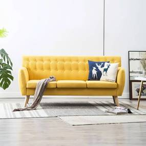 Driezitsbank 172x70x82 cm stof geel