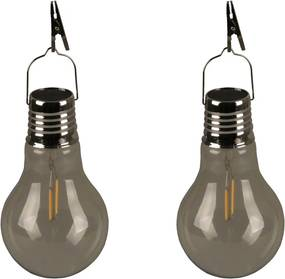 Feestverlichting voor buiten solar LED 2 st transparant