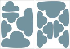 Art For The Home muurstickers Wolken - blauw - 17,5x25 cm - Leen Bakker