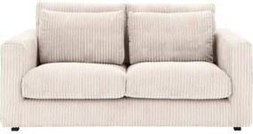 Goossens Bank Ravenia In Ribstof wit, stof, 2-zits, stijlvol landelijk