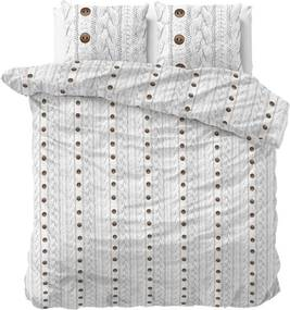 Sleeptime - Knit Buttons Dekbedovertrek Flanel (Warm) - Wit - 140 x 220
