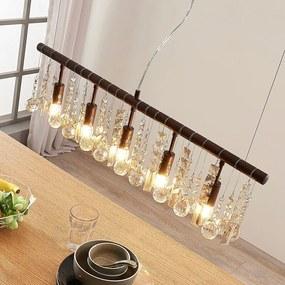 Roestkleurige kristallen hanglamp Matei, 5.lamps - lampen-24