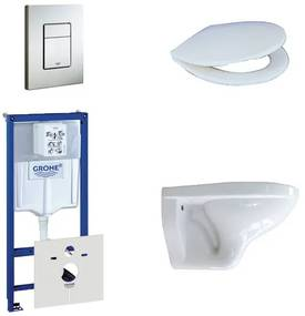 Adema Classico toiletset bestaande uit inbouwreservoir, toiletpot, toiletzitting en bedieningsplaat RVS 0729205/0261520/4345100/0720026