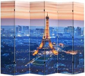 Kamerscherm inklapbaar Parijs bij nacht 228x170 cm
