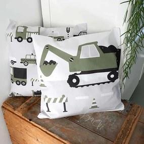 ANNI Design - Kussen Kinderkamer Graafmachine Olijf - Groen