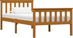 Bedframe massief grenenhout honingbruin 100x200 cm