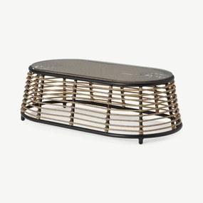 Swara salontafel voor buiten, rotan en glas