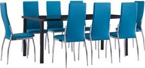 9-delige Eethoek kunstleer blauw