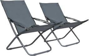 Strandstoelen 2 st inklapbaar stof grijs