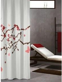 Douchegordijn Textiel Sealskin Blossom Polyester Rood 180x200cm