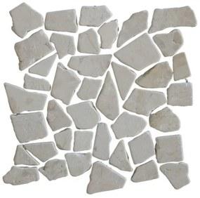 Kerabo Vloer- en wandtegel Beige marmer scherven getrommeld mixed Natuursteenlook Gezoet / verouderd Beige per matje SW0732400