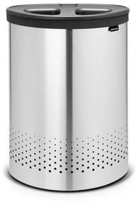 Brabantia wasbox 55 liter selector met dark grey kunststof deksel en uitneembare waszak matt steel 105029