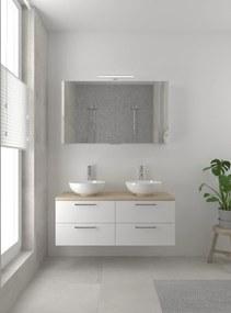 Combo badmeubelset 120 cm dubbel | spiegelkast bovenblad natuur eiken - mat wit