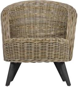 Woood fauteuil Sara - naturel/zwart - 75x68x83 cm - Leen Bakker
