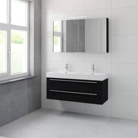 Bruynzeel Bando badmeubelset 120x45cm 2 kraangaten 2 wasbakken 2 lades met spiegelkast met softclose Composiet zwart eiken 123101959