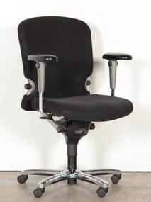 Bureaustoel 77, zwart gestoffeerd, 4D armleggers