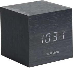Karlsson alarmklok Cube black - wit LED - Leen Bakker