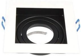 Inbouwspot, Vierkant, Kantelbaar, Aluminium, Zwart/Wit, Mat