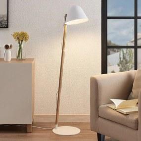 Tetja vloerlamp met houten paal, wit - lampen-24