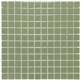 The Mosaic Factory Barcelona mozaïektegel 2.3x2.3x0.6cm wandtegel voor binnen en buiten vierkant porselein Olijf Groen AF230030