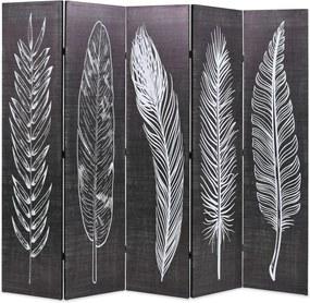 Kamerscherm inklapbaar veren 200x170 cm zwart en wit