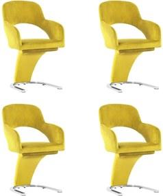 Eetkamerstoelen 4 st fluweel geel