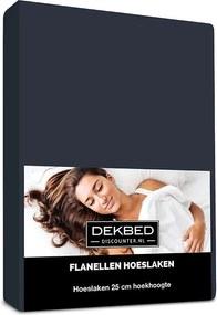 Dekbed-Discounter Verwarmend Flanel Hoeslaken - Navy 80/90 x 200 cm