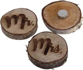 2 houten magneet corsage, Mrs en Mr± 5-6 cm.