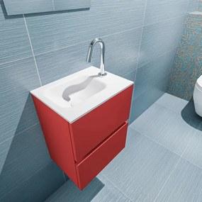 MONDIAZ ADA Toiletmeubel 40x30x50cm met 1 kraangaten 2 lades fire mat Wastafel Lex links Solid Surface Wit FK75341884