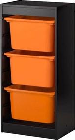 TROFAST Opbergcombinatie 46x30x94 cm zwart/oranje