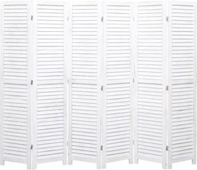Kamerscherm met 6 panelen 210x165 cm hout wit