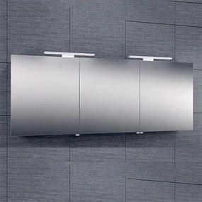 Spiegelkast Larissa 160x60x14cm Aluminium LED Verlichting Stopcontact Binnen en Buiten Spiegel Glazen Planken