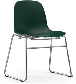 Normann Copenhagen Form Chair Stapelbare Stoel Met Chroom Onderstel Groen