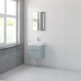 Bruynzeel Mino badmeubelset 56x50x38cm 1 kraangat 1 wasbak 2 lades met spiegel met softclose fjord groen 123102252