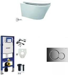 Vesta toiletset Rimless - met SlimSeat zitting - met Geberit UP320 reservoir/bedieningsplaat glans-chroom