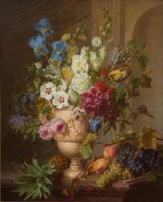 Bloem in een albasten vaas en vruchten op een marmeren blad