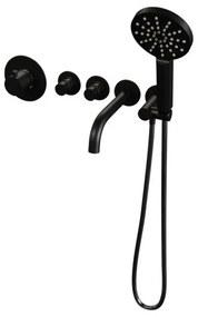 Brauer Black Edition inbouw badthermostaat met uitloop 3 standen handdouche met inbouwdeel zwart mat 5-S-023
