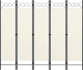 Kamerscherm met 5 panelen 200x180 cm crèmewit