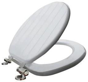 Nemo Go Stripe toiletzitting in MDF softclose 435x375 mm wit met gegroefde strepen YFM1