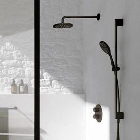 Cobber IBS 20A inbouw doucheset - mat zwart - met staafhanddouche - 30cm hoofddouche - met wandarm - glijstang met uitlaat