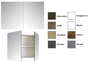Sanicare Qlassics spiegelkast 90x60x15cm met 2 dubbelzijdige spiegeldeuren zijdeglans wit 29.41090Q
